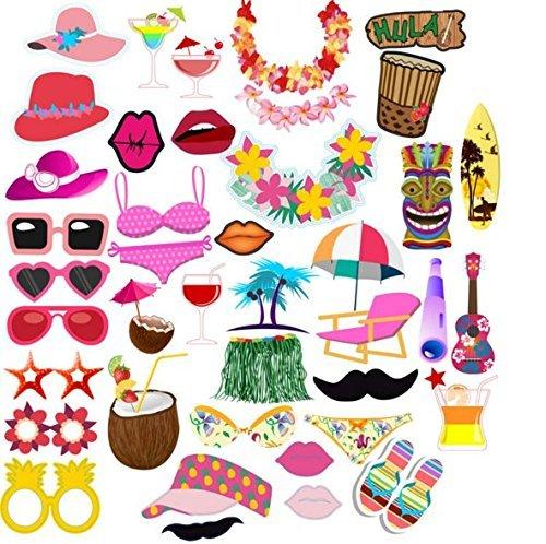 44 Fotorequisiten & Fotoaccessoires für witzige & lustige Bilder, Sommer-Strand-Serie Flamingo Lustige, Geburtstag oder jede andere (Flamingo Diy: Kostüm)