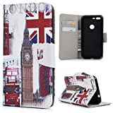 MAXFE.CO Google Pixel XL Flip Folio Cover Various Figure Design 5.5 Inch PU Leather Holster Case With Magnet Closure Cash Slot Card Holder For Google Pixel XL - Big Ben Double-decker Bus Telephone Booth