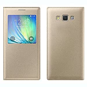 Honey Money S View Wndow Leather Flip Cover For Samsung Galaxy A8(Gold)