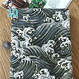 Youmu, tessuto giapponese in lino e cotone, con stampe di oceano e gufi, delle dimensioni di 100 cm x 145 cm, adatto per realizzare cuscini e tende fai da te 10