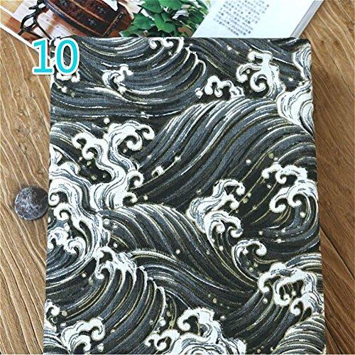 Youmu japonés algodón lino tejido búho ola de mar cortina de gamuza de impresión para cojín y DIY bolsa 100* 145cm) 10