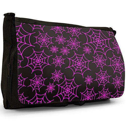 Spider web, taglia da puledro, colore: nero, Borsa Messenger-Borsa a tracolla in tela, borsa per Laptop, scuola Nero (Pink Spider Cobwebs)