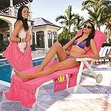 Lounger Mate Strandtuch/Handtuch für Sonnenliege, mit Taschen, für den Urlaub und für Gartenliegen,blau, multi, 215 x 75cm