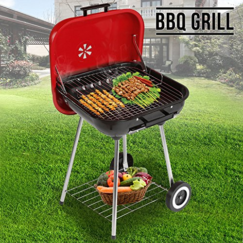 Superworth Charcoal Trolley BBQ Barbecue Grill Garden Outdoor Cooking Patio With Wheels Cover