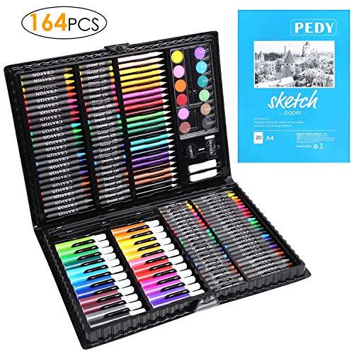 PEDY 164 Pezzi, Comprende Pastelli, Matite Colorate Set d'arte per Disegnare e Dipingere, Set di Pittura per Bambini, Artisti Dilettanti, Incluso Album