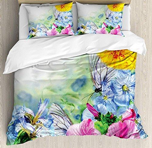 Aquarell Blume 3 Stück Bettwäsche Set Bettbezug Set, surreale Iris Pfingstrose Mohn Blütenblätter malen mit Motten Schmetterlinge Wildnis, 3 Stück Tröster / Qulit Cover Set mit 2 Kissenbezügen, Multic -