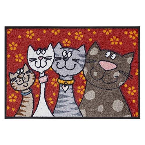 Salonloewe Fußmatte waschbar Katzenfamilie 50x75 cm SLD0109-050x075