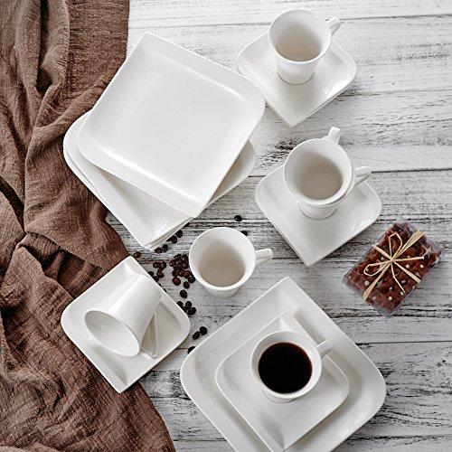 vancasso, Gitana 18-teilig Kaffeeservice aus Weißem Porzellan, Kaffeeset für 6 Personen,...