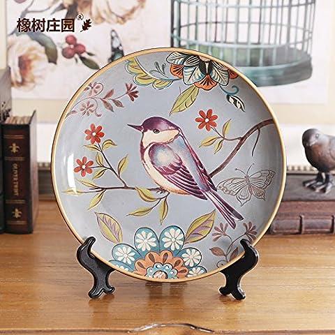 KXZZY Home decorazioni ornamenti Continental pittura dei fiori e degli uccelli sono soprammobili , il vassoio del disco 100756 Decorazione