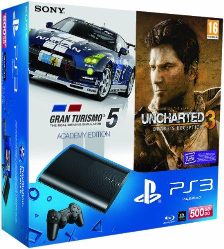 SONY - CONSOLA SONY PS3 SLIM 500GB NUEVA + GT ACADEMY + UNCHARTED 3 GOTY (EDICION JUEGO DEL AnO)