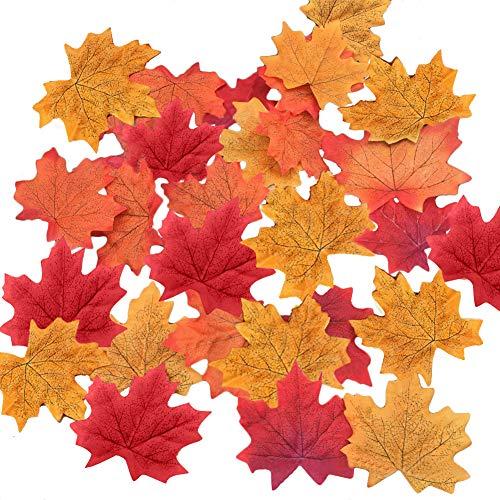 EQLEF Ahornblätter Deko Herbstblätter Künstliche Autumn Leaves Multi-Color Faux Maple Leaves für Haus und Hochzeit Party Dekoration 150 Stück(150 pcs) Autumn Leaves Teller