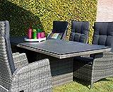 Gartentisch, Balkontisch, Terrassentisch, Spraystone, Rattantisch, anthrazit, grau, 220 x 100 cm