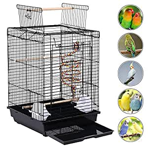 Yaheetech Open Top Metal Bird Cage For Small Birds Canary Parakeet Cockatiel Budgie Small Parrot Travel Cage w/Open Play Top & Toy 40 x 40 x 58 cm (LxWxH)