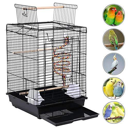 Yaheetech Gabbia per Uccelli Pappagalli Voliera in Metallo e Legno con Tetto Apribile Posatoio e Giocattolo 40 x 40 x 58 cm