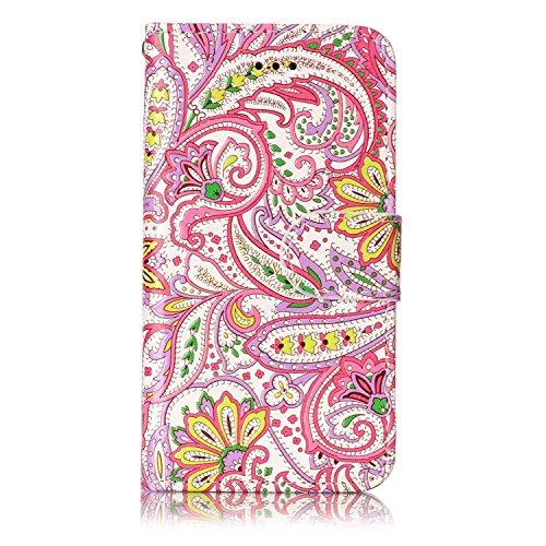 iPod Touch 5 / Touch 6 Hülle, Chreey [Geprägte Muster] Kratzfestes Flip Case Ledertasche Magnet Klapp Etui Handyhülle [Pfeffer Blume] + Brieftasche Kartenfächer Ständer
