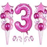 Bluelves 3er Cumpleaños Globos, Decoración de cumpleaños 3 en Rosas, Feliz cumpleaños Decoración Globos 3 Años, Globos Numero