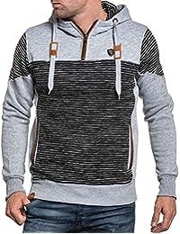 BLZ jeans - Sweat-shirt homme gris rayé avec capuche et poches