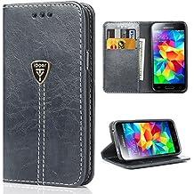 Funda Galaxy S5 con tapa libro piel y TPU cartera cover Funda de cuero carcasa bumper protectores S5 estuches soporte flip Case para Samsung Galaxy S5 / Neo gris