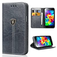 Galaxy S5 Mini Case,Slim Magnetic Flip Leather Wallet Protective Case Cover for Samsung Galaxy S5 Mini - Gray