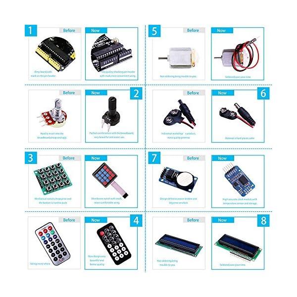 61iZF3LFpzL. SS600  - Elegoo Conjunto Avanzado de Iniciación a Arduino UNO con Guías Tutorial en Español y Conjunto de Arduino UNO R3, a Demás de Relé de 5V, Modulo de Fuente de Alimentación,Pantalla LCD1602, Servomotor, Motor Paso a Paso, Placa de Desarrollo de Prototipos, etc.