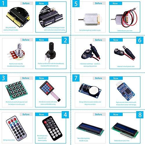 61iZF3LFpzL - Elegoo Conjunto Avanzado de Iniciación a Arduino UNO con Guías Tutorial en Español y Conjunto de Arduino UNO R3, a Demás de Relé de 5V, Modulo de Fuente de Alimentación,Pantalla LCD1602, Servomotor, Motor Paso a Paso, Placa de Desarrollo de Prototipos, etc.
