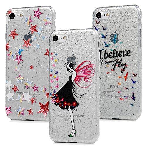 3x Cover iPhone 7 iPhone 8 Custodia Glitter Brillanti Morbida Silicone TPU Flessibile Gomma - MAXFE.CO Case Ultra Sottile Cassa Protettiva per iPhone 7 / iPhone 8 - Modello 3 Modello 3