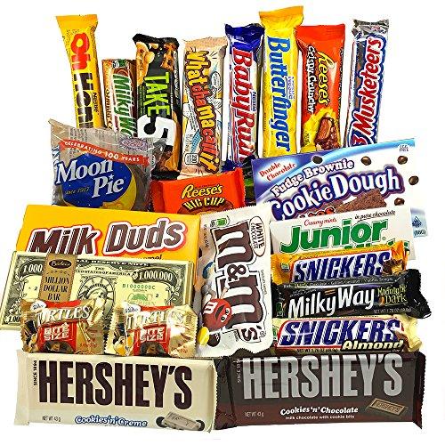 Gran Cesta Chocolate Americano | Surtido de 22 artículos incluido Hersheys Reeses Baby Ruth Butterfinger | Golosinas para Navidad Reyes o para regalo | Caja de American Candy