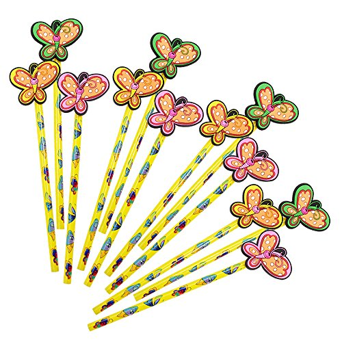 Preisvergleich Produktbild COM-FOUR® 12x Bleistifte Schmetterling, mit Gummi-Aufsatz in Schmetterlingsform,19 cm, Ø 0,8 cm Härtegrad 2B, ideal als Mitgebsel oder für die Schule, Giveaway Set (12 Stück Schmetterling)