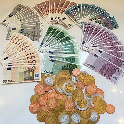 Juego de 160 piezas: 96 billetes de euros + monedas de Euro, Kaufmann para aprender a contar, compras, decoración de la tienda rápida de 11.000 euros