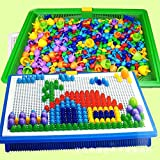 MMRM 296Pcs DIY Mushrooms Nails Beads Building Jigsaw Puzzle 7 Color Flashboard Educational Toys for 3 Years Above Kids
