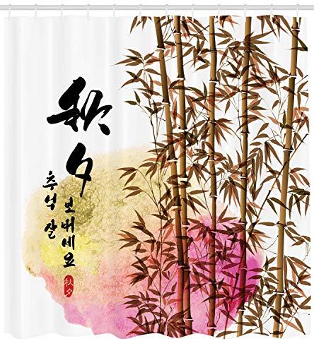 ABAKUHAUS Bambú Cortina de Baño