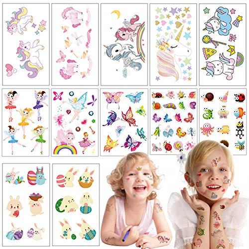 Eqlef tatuaggi temporanei bambini kit, impermeabile unicorno / pasqua / fata / animale / farfalla tatuaggi temporanei per ragazze birthday party favors12 fogli (100 pezzi)