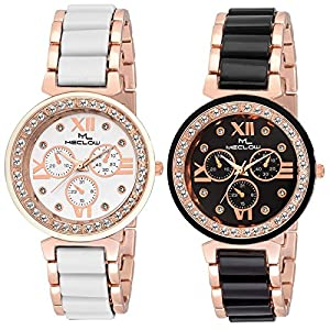 Meclow Combo Of 2 Analogue Black Dial Girl's and Women's Watch-Ml-Cmb-31