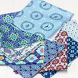 Stoffpaket - 9 Stück je 25cm x 25cm - Hilde blau - Stoff