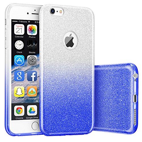 iphone 6S Hülle,Hanlesi Shiny Gradient Serie [Bling Kristallklar] Cover, Ultra Slim Sparkle Premium 3 Layer Hybrid Transparente Schutzhülle für Apple iPhone 6, 6S 4,7 inch transparente himmelblau