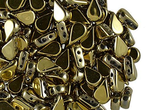 25stk Amos® par® Puca® Beads - Tschechische Gepresste Glasperlen in Form einer flacher Tropfen von 5x8 mm, zwei Löcher, Crystal Full Dorado (Light Gold Metallic) (Del Amo 5 Light)