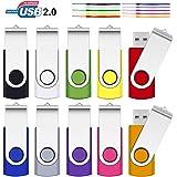 32GB 10 Pezzi Chiavetta USB 2.0 SRVR Girevole Pen Drive per archiviazione dati Unità Pennetta USB con Corda (Multicolore)
