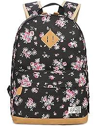 Preisvergleich für Flora Backpack für Girls, Canvas School AudioList College Laptop Tasche Frauen Daypack
