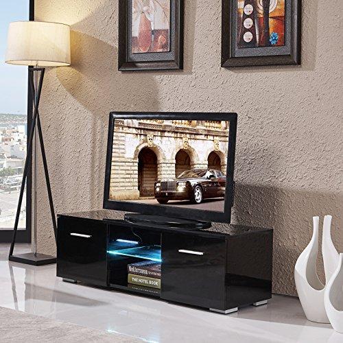 uenjoy 120cm/Hochglanz-Schwarz TV-Einheit TV Schrank TV-Ständer LED Zwei Gratis Schubladen Böden (2 Schubladen Tv-ständer)