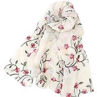 Pluto & Fox - Foulard da donna ricamato con fiori, sciarpa di seta, design retrò, stile elegante