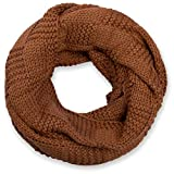 styleBREAKER sciarpa scaldacollo in maglia con motivo brevettato, sciarpa ad anello in maglia fine a tinta unita, sciarpa invernalein maglia, unisex 01018152, colore:Cognac
