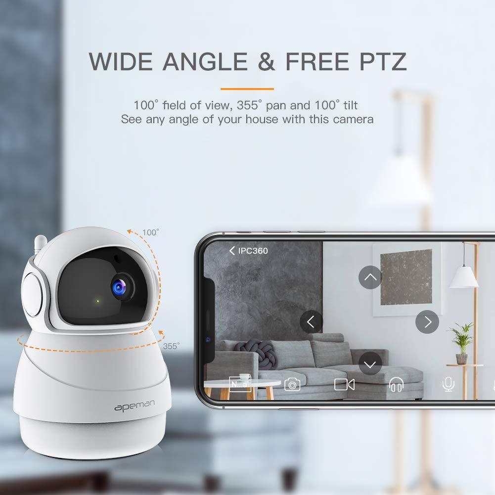 Audio a 2 Vie Compatibile con IOS//Android Rilevatore di Movimento Pan//Tilt Apeman FHD 1080P Telecamere di Sorveglianza WiFi Interno Telecamera IP WIFI Visione Notturna