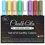 Chalk Pens - Pack of 8 Earth Colour Markers - Use on Whiteboard, Chalkboard, Window, Blackboard, Bistros Glass - 6mm Reversible Bullet & Chisel Tip