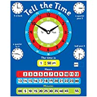 Magnetic Tell the Time Chart. Rigid board 40 x 32cm with hanging loop