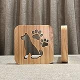 AUCD Lustige Hund 3D Holz Lampe Warmweiß LED USB Nachtlicht Hause Bettwäsche Dekoration Kinder Geburtstag Weihnachten Geschenk-10