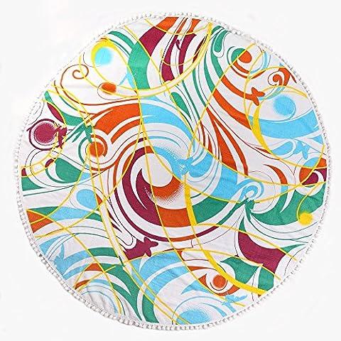 answet Pile Taglio 100% cotone spiaggia asciugamano, Picnic, spiaggia, Foglio Yoga meditazione Yoga Mat con 8colori diametro 150cm, 100% cotone, green melody, diameter:150cm