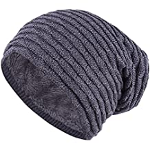 iBaste Gorros Unisexo de Punto para Otoño e Invierno Sombrero Aire Libre Gorro Lana Crochet con Pelusa