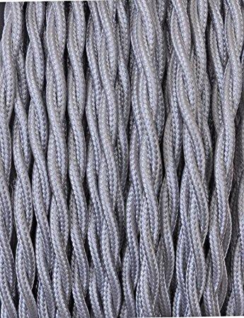 LineteckLED TRECCIA ARGENTO Cavo tessile trecciato argento 2x0.75 bobina 10 metri, cavi elettrici rivestiti in tessuto cavo elettrico intrecciato bipolare cavi elettrici colorati tessuto a 2 fili