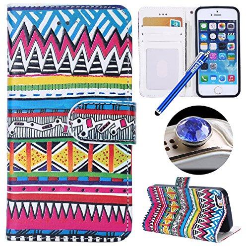 Etsue Case Cover for iPhone 7/8,Copertura in Pelle/Leather Cover caso,Hand Embossed Varnish Leather Case,[Chiusura magnetica][assorbimento dello shock][anti-graffio],flip cover case for iPhone 7/8-cra Modello tribale