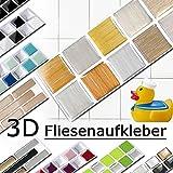 5er Set 25,3 x 5 cm gold kupfer silber Fliesenaufkleber Design 8 I Mosaik 3D Aufkleber Küche Bad Fliesendekor selbstklebend Grandora W5288